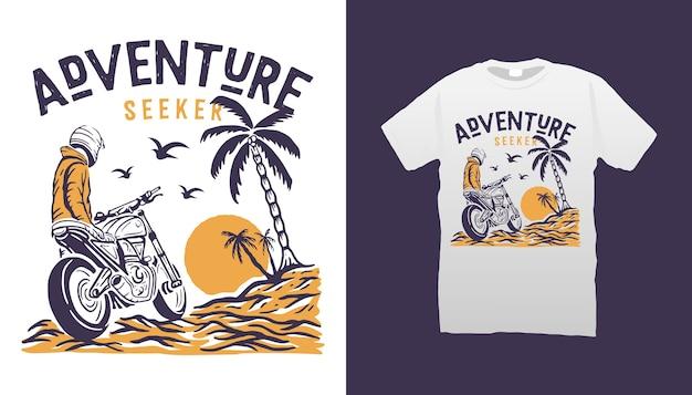 Projekt Koszulki Motocyklowej Adventure Premium Wektorów