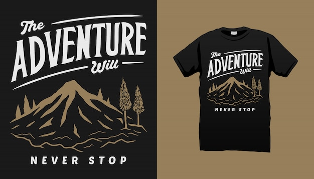 Projekt Koszulki Mountain Adventure Premium Wektorów