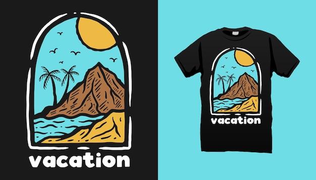 Projekt Koszulki Na Wakacje Na Plaży Premium Wektorów