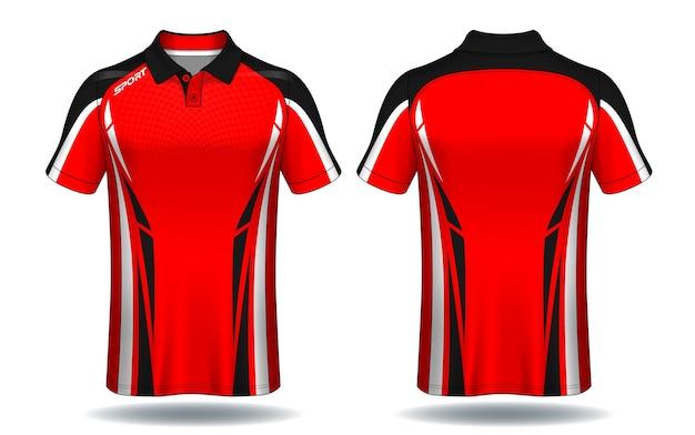 Projekt Koszulki Polo, Szablon Koszulki Sportowej. Premium Wektorów