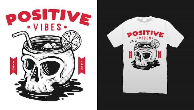 Projekt Koszulki Positive Vibes Premium Wektorów