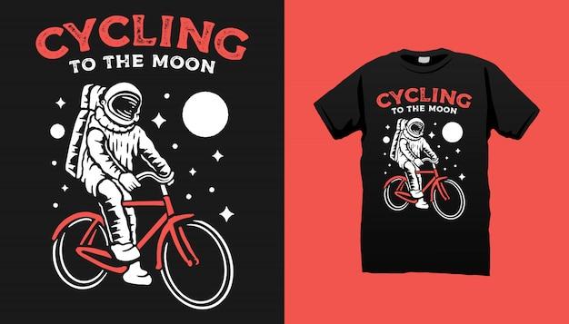 Projekt Koszulki Rowerowej Astronauty Premium Wektorów