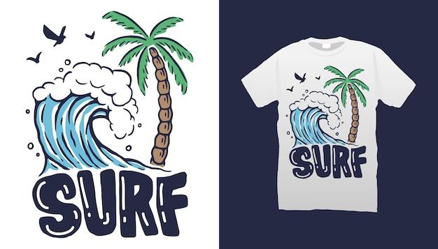 Projekt Koszulki Surf Beach Premium Wektorów