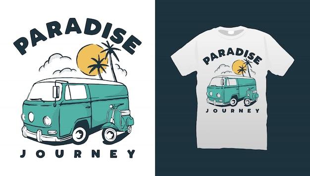 Projekt Koszulki Typu Camper Van I Skuter Premium Wektorów