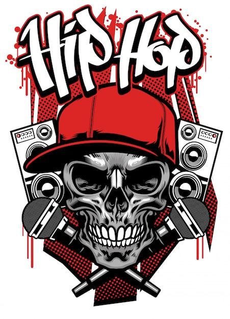 Projekt Koszulki W Stylu Hip Hop Z Czapką Noszącą Czaszkę Premium Wektorów