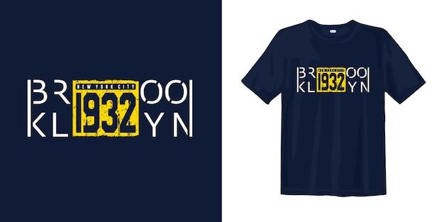 Projekt Koszulki W Stylu Vintage Z Nadrukiem Brooklyn Premium Wektorów