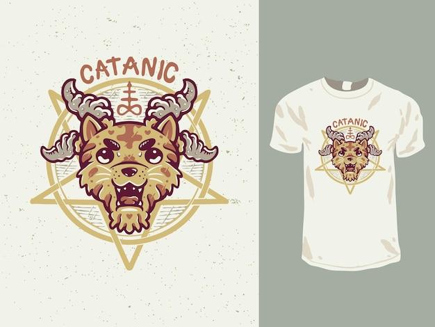 Projekt Koszulki Z Kreskówkowym Kotem Satanistycznym Premium Wektorów