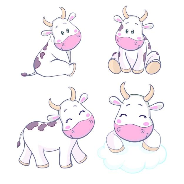 Projekt Kreskówka Krowa ładny Charakter Premium Wektorów