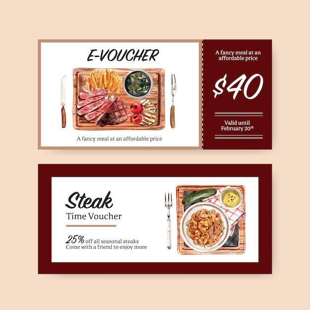 Projekt Kuponu Stek Z Frytkami, Akwarela Ilustracja Stek. Darmowych Wektorów