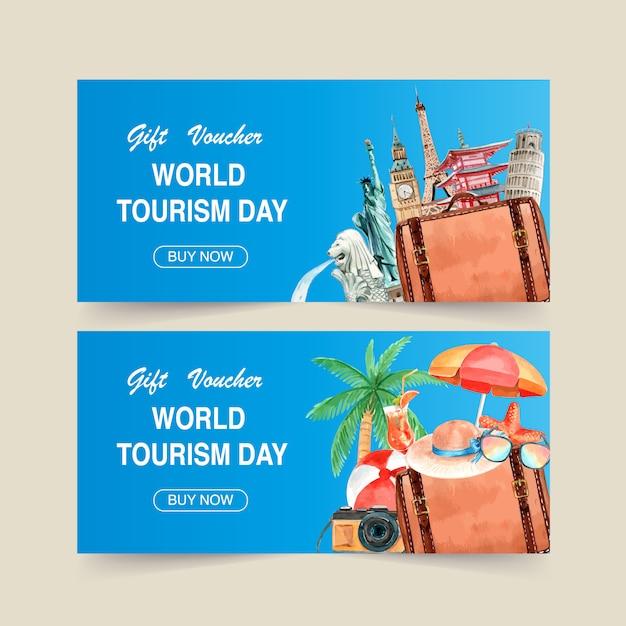Projekt kuponu turystycznego z punktem orientacyjnym każdego kraju, kokos, aparat fotograficzny. Darmowych Wektorów