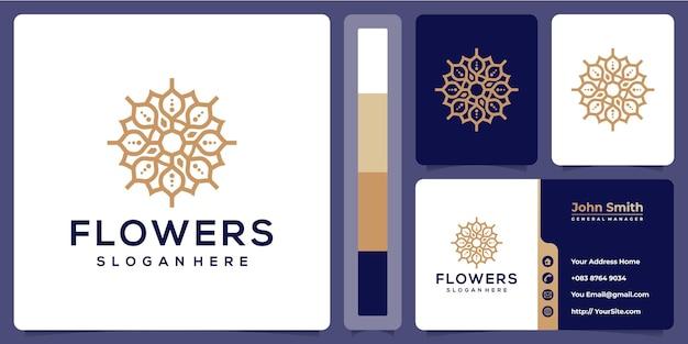 Projekt Linii Luksusowych Kwiatów Z Szablonu Wizytówki Premium Wektorów