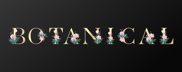 Projekt Liter Botanicznych W Kolorze Złotym Z Pięknym Kwiatkiem Na Czarnym Tle. Premium Wektorów