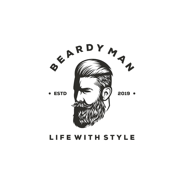 Projekt Logo Beardy Człowieka Premium Wektorów