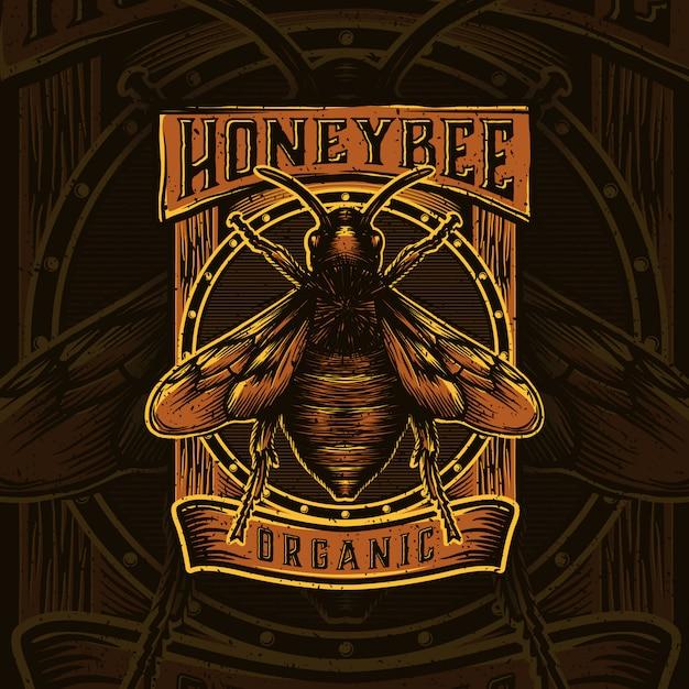 Projekt Logo Dla Produktów Miodu Lub Farm Pszczół Miodnych Premium Wektorów