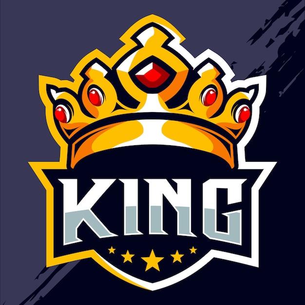 Projekt Logo E-sportowego Króla Korony Premium Wektorów