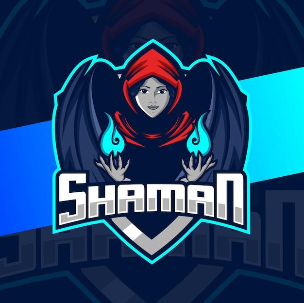 Projekt Logo Esport Maskotki Szamana Premium Wektorów