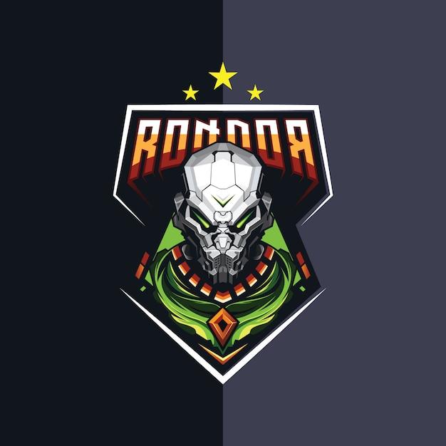 Projekt logo esportowego robota do gier Premium Wektorów