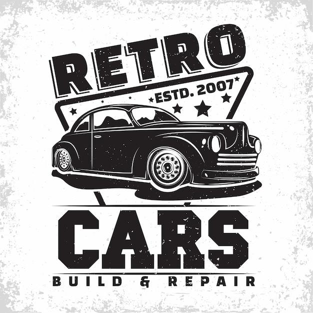 Projekt Logo Garażu Hot Rod, Emblemat Organizacji Naprawy I Serwisu Samochodów Mięśniowych, Znaczki Z Nadrukiem Garażu Samochodów Retro, Emblemat Typografii Hot Rod Premium Wektorów