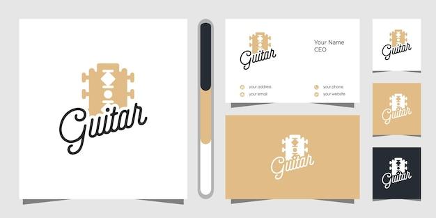 Projekt Logo Gitary I Wizytówki Premium Wektorów