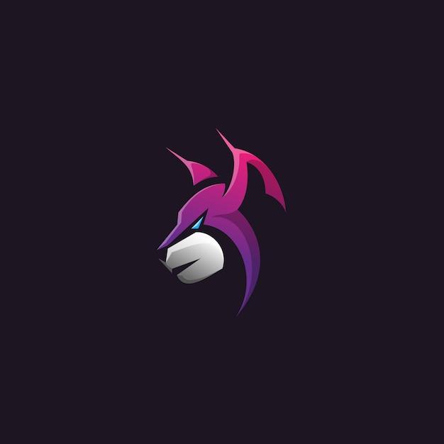 Projekt logo głowy lynx Premium Wektorów
