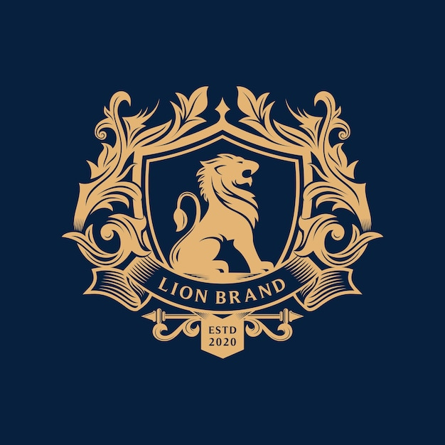 Projekt Logo Heraldyka Lwa Premium Wektorów