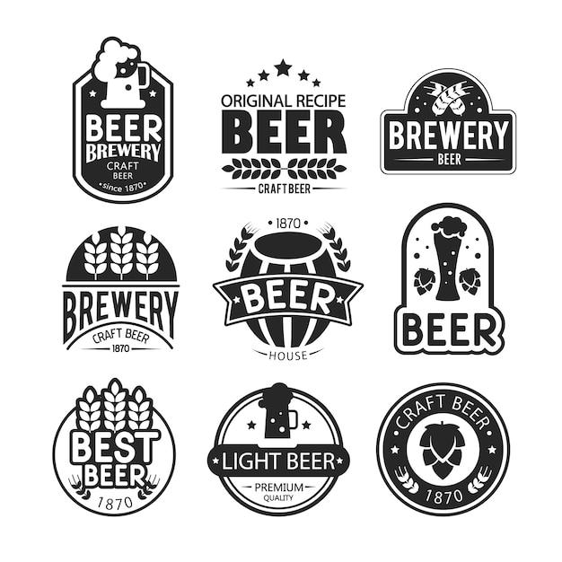 Projekt logo i emblematów browaru. Darmowych Wektorów