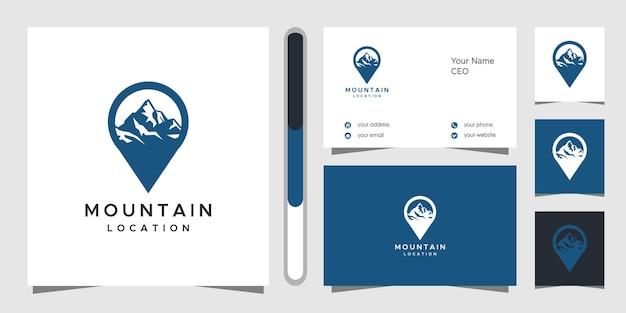 Projekt Logo I Wizytówka Lokalizacji Górskiej Premium Wektorów