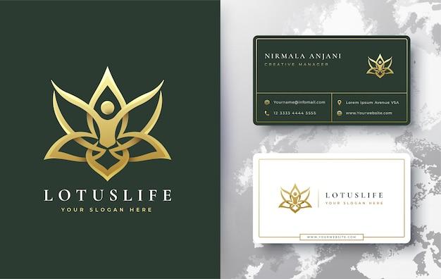 Projekt Logo I Wizytówki Złoty Lotos Premium Wektorów