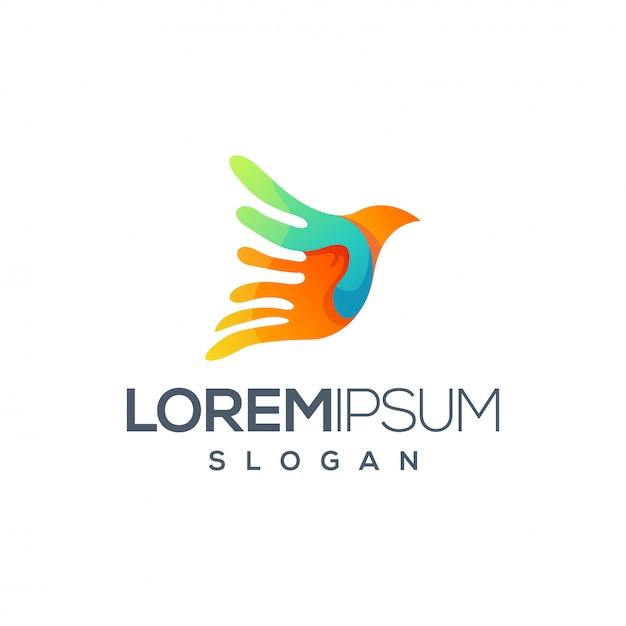 Projekt logo kolorowy ptak Premium Wektorów