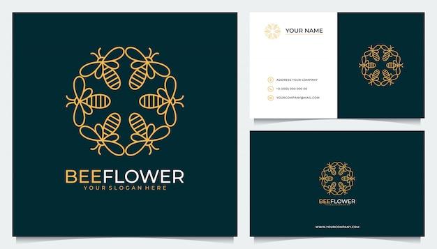 Projekt Logo Kwiatka Z Połączeniem Pszczół I Wizytówek Premium Wektorów