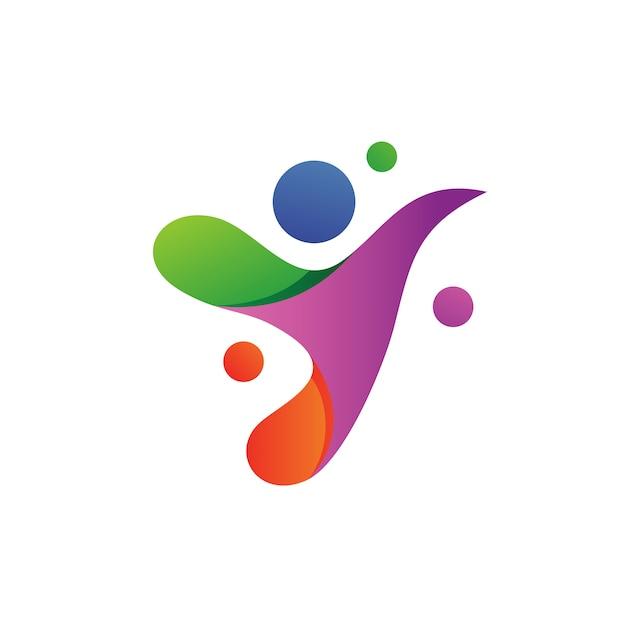 Projekt logo litery y ludzi Premium Wektorów