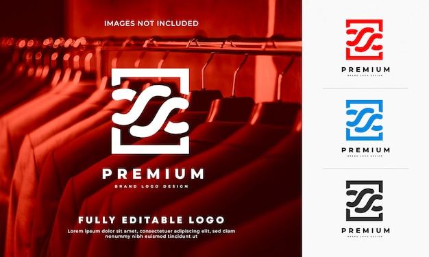 Projekt Logo Marki Tkaniny Premium Premium Wektorów
