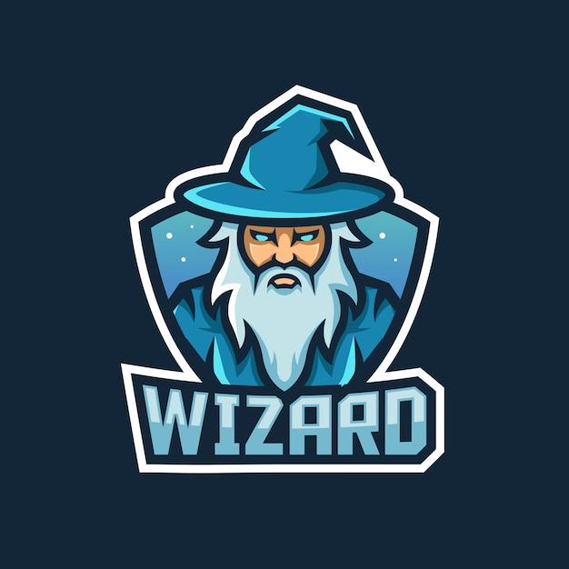 Projekt Logo Maskotki Czarnoksiężnika Z Nowoczesnym Stylem Ilustracji Do Odznaki Premium Wektorów