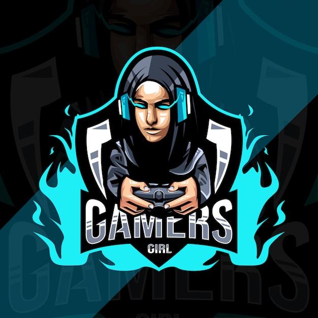 Projekt Logo Maskotki Dziewczyny Graczy Premium Wektorów