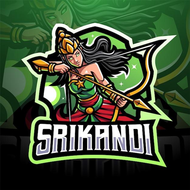 Projekt Logo Maskotki Esport Srikandi Premium Wektorów