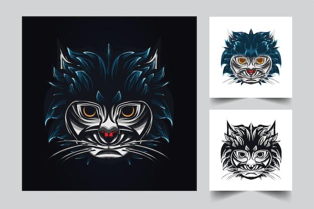 Projekt Logo Maskotki Kota Z Nowoczesnym Stylem Ilustracji Do Drukowania Ruchów, Emblematów I Koszulek Premium Wektorów