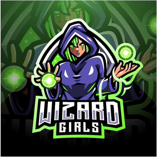 Projekt Logo Maskotki Kreatora Dziewcząt Esport Premium Wektorów