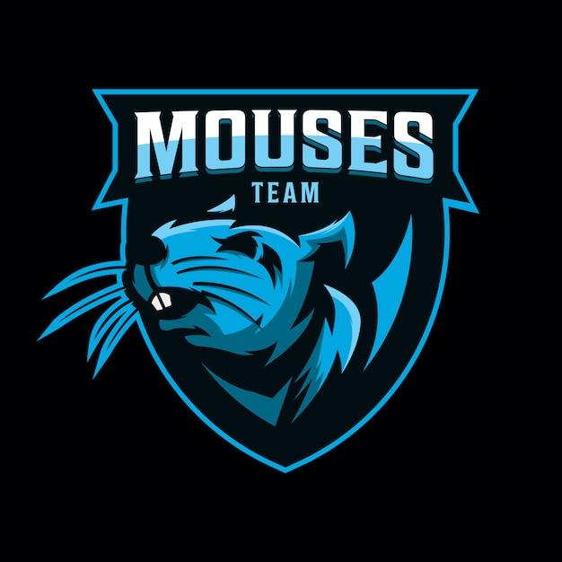 Projekt logo myszy do gier sportowych Premium Wektorów