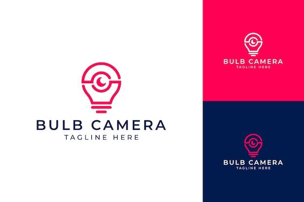 Projekt Logo Nowoczesnego Aparatu Fotograficznego żarówki Premium Wektorów