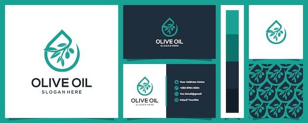 Projekt Logo Oliwy Z Oliwek Z Koncepcją I Wzorem Wizytówki Premium Wektorów