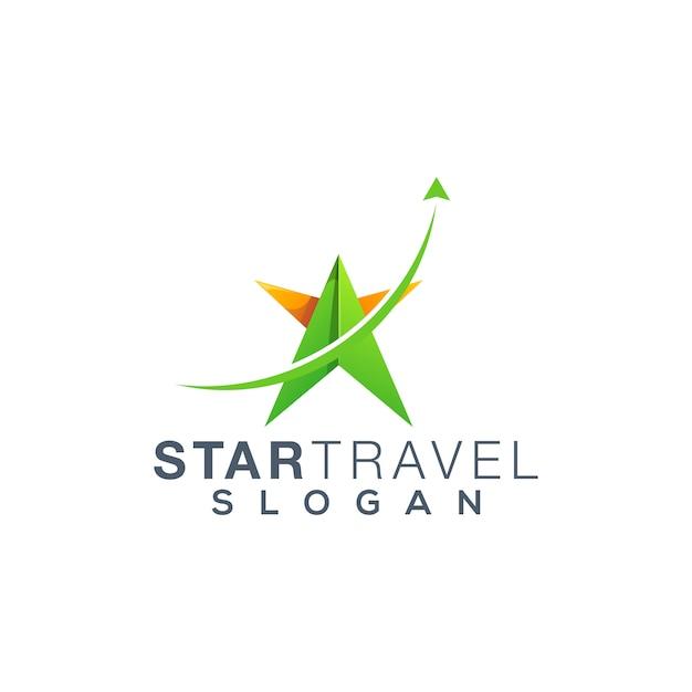 Projekt logo podróży star Premium Wektorów
