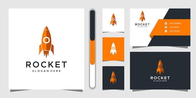 Projekt Logo Rakiety I Wizytówki. Premium Wektorów