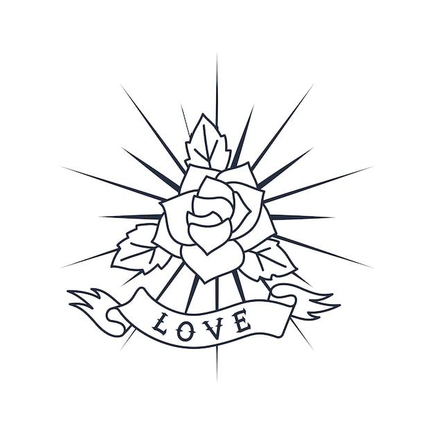 Projekt logo retro róża i wstążka Premium Wektorów