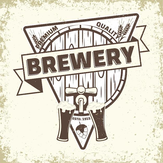 Projekt Logo Rocznika Browaru Premium Wektorów