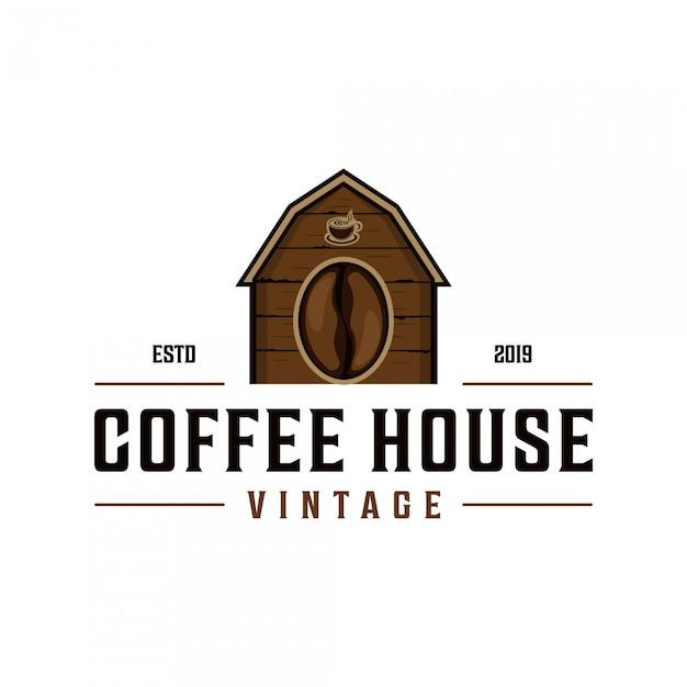 Projekt logo rocznika kawiarni Premium Wektorów