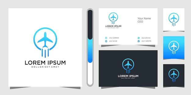 Projekt Logo Samolotu I Wizytówki Premium Wektorów