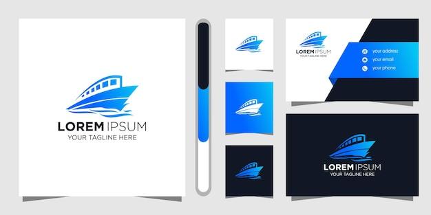 Projekt Logo Statku I Szablon Wizytówki. Premium Wektorów