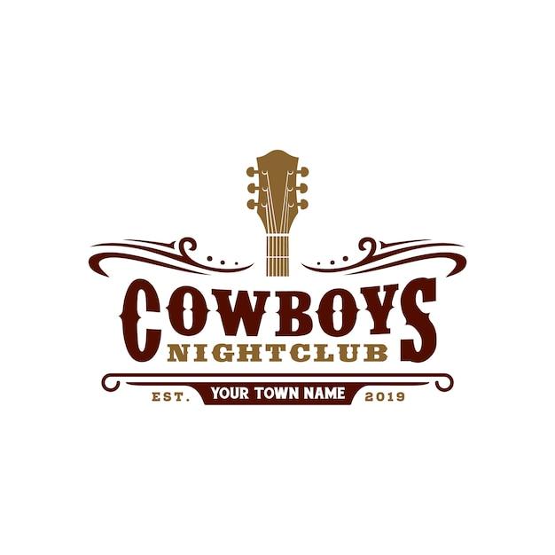 Projekt logo typografii country music bar Premium Wektorów
