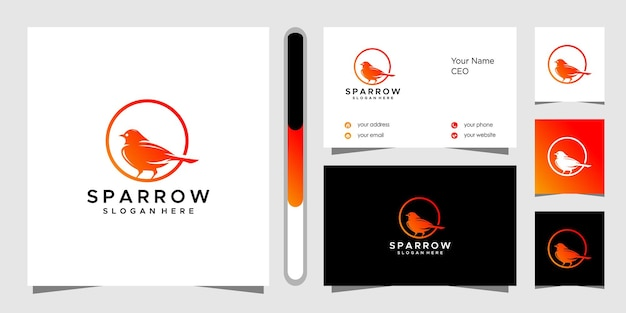 Projekt Logo Wróbelka I Wizytówki Premium Wektorów