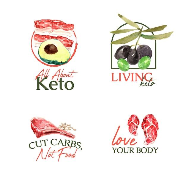 Projekt Logo Z Koncepcją Diety Ketogenicznej Dla Brandingu I Marketingu Akwareli. Darmowych Wektorów